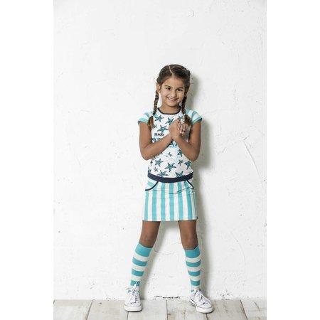 B.Nosy B.Nosy jurk jersey with stripes/stars ecru melee hot turquoise