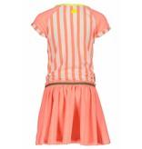 B.Nosy B.Nosy jurk stripe with plain skirt bright salmon
