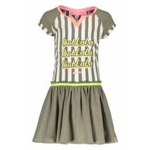 Jurk stripe with plain skirt fern green