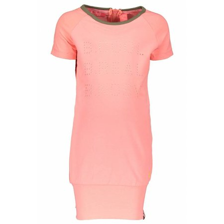 B.Nosy B.Nosy jurk jersey with zipper at the back bright salmon