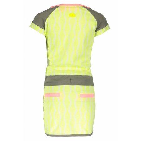 B.Nosy B.Nosy jurk zebra with contrast waistband white ao electric yellow