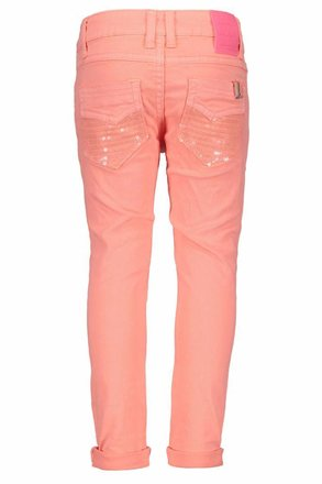 B.Nosy broek with sequinces back pocket bright salmon