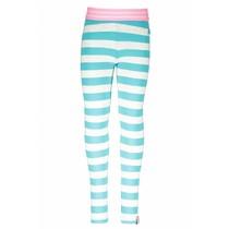 Legging stripe ecru melee hot turquoise