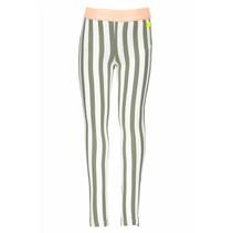 Legging vertical stripe fern green white