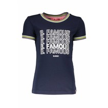 T-shirt with rib neck and sleeves cuffs midnight blue