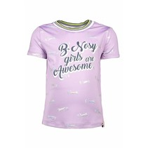 T-shirt with rib neck and sleeves cuffs sweet lilac