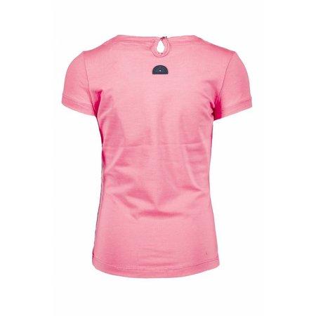 B.Nosy B.Nosy T-shirt with round smock part at neck bubblegum
