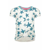 T-shirt star with knot effect in hem front ecru melee panther hot turquoise