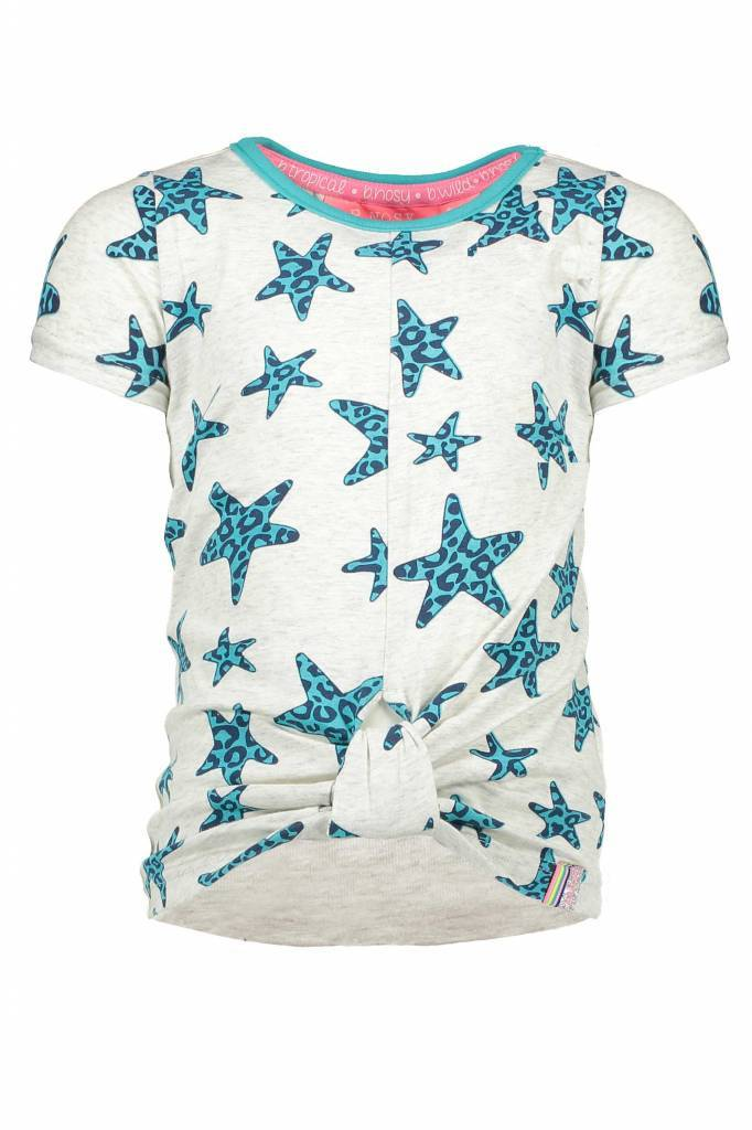 B.Nosy B.Nosy T-shirt star with knot effect in hem front ecru melee panther hot turquoise