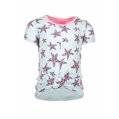 B.Nosy B.Nosy T-shirt star with knot effect in hem front skydelight pink panther