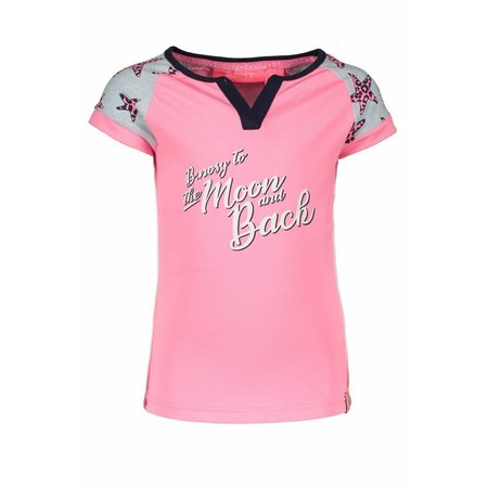 B.Nosy B.Nosy T-shirt raglan stripe with star sleeves bubblegum