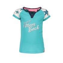 T-shirt raglan stripe with star sleeves hot turquoise