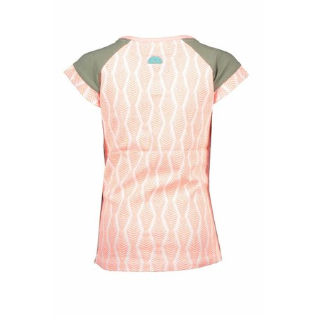 B.Nosy B.Nosy T-shirt zebra ao print with contrast sleeves bright salmon