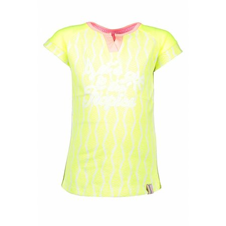 B.Nosy B.Nosy T-shirt zebra ao print with contrast sleeves electric yellow