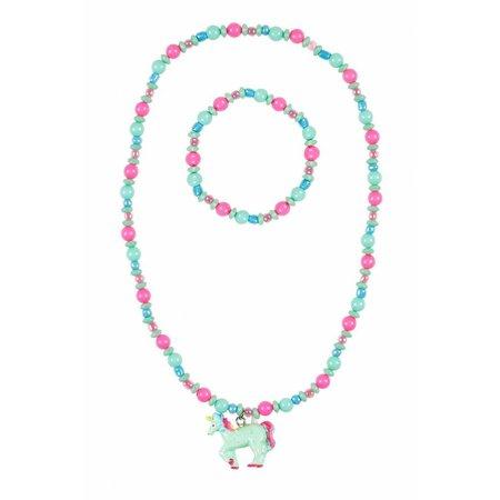 Souza Souza ketting + armband Aike, eenhoorn roze-mint groen