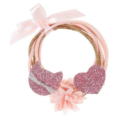 Souza Souza haarelastiek Malina hart-bloem-kat roze (6 stuks)