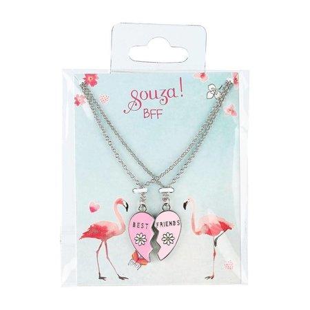 Souza Souza cadeauset BFF hart, 2 kettingen, zilver (2 stuks)