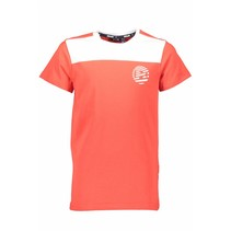 T-shirt Kars white front yoke bright red