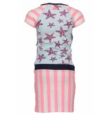 B.Nosy B.Nosy jurk jersey with stripes/stars bubblegum white