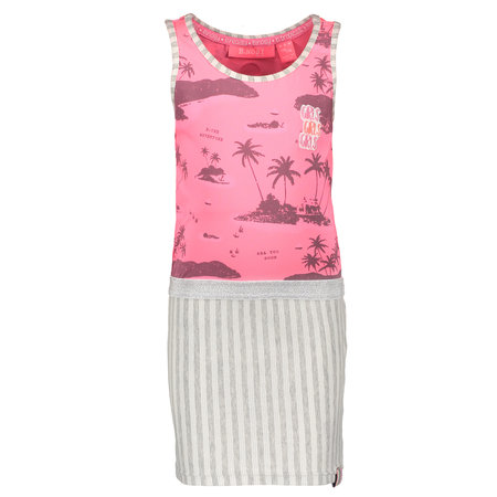 B.Nosy B.Nosy jurk with aloha top and stripe skirt ao bubblegum