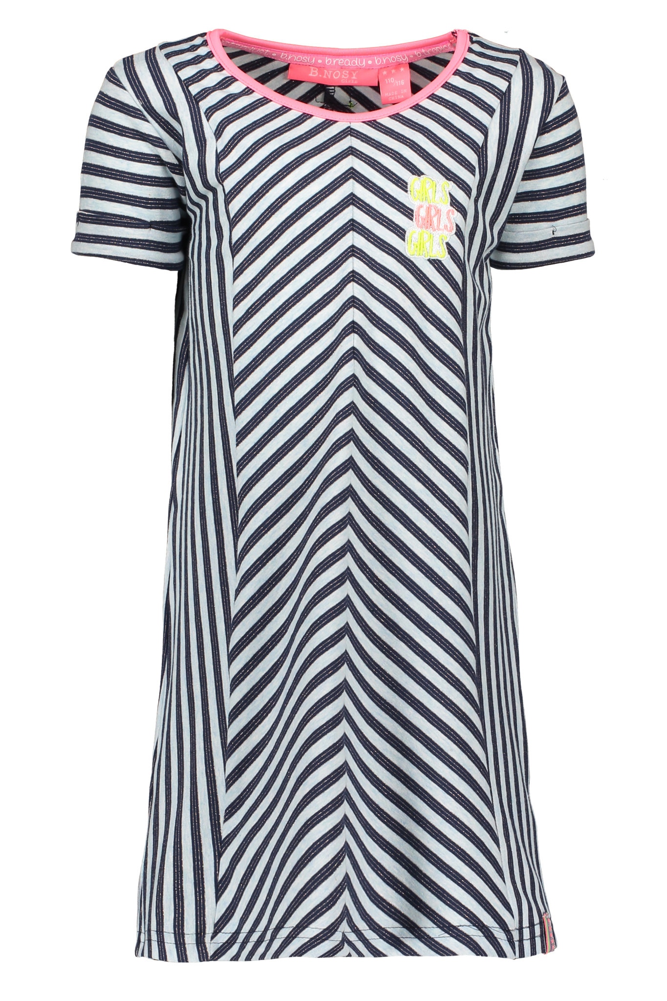 B.Nosy B.Nosy jurk jersey stripe rolled-up sleeves skydelight melee matching lurex
