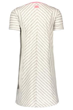 B.Nosy jurk jersey stripe rolled-up sleeves grey melee silver lurex