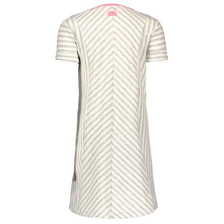 B.Nosy B.Nosy jurk jersey stripe rolled-up sleeves grey melee silver lurex