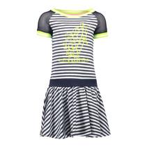 Jurk jersey stripe with netting sleeves, skater skirt skydelight melee
