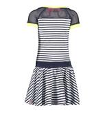 B.Nosy B.Nosy jurk jersey stripe with netting sleeves, skater skirt skydelight melee