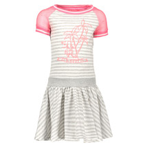 Jurk jersey stripe with netting sleeves, skater skirt grey melee