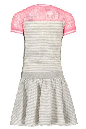 B.Nosy jurk jersey stripe with netting sleeves, skater skirt grey melee