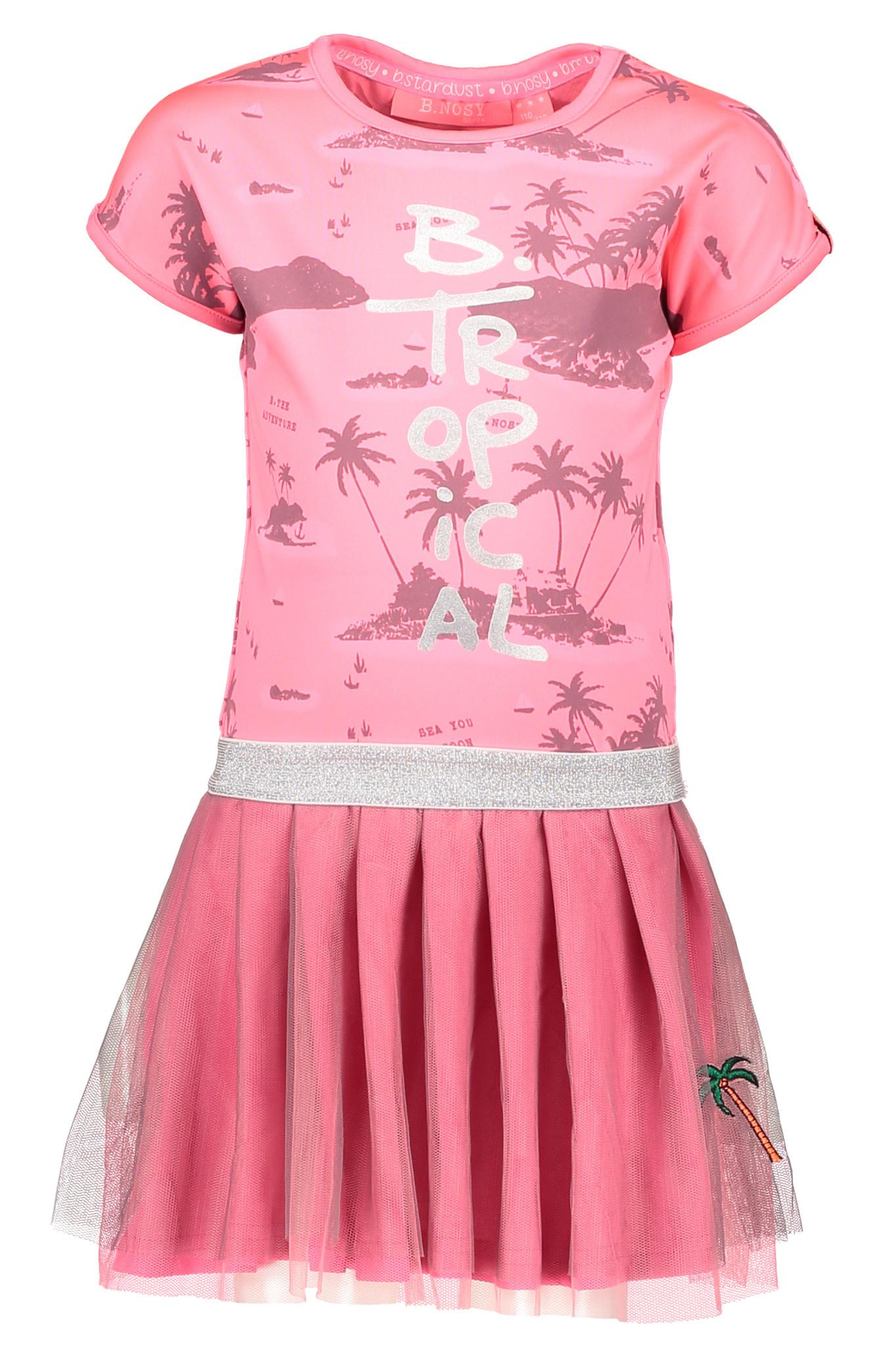 B.Nosy B.Nosy jurk jersey aloha with double layer netting ao bubblegum