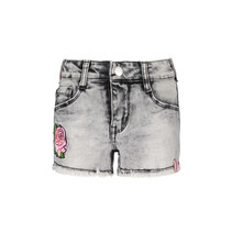 Short with flower patchtape on the side grey denim