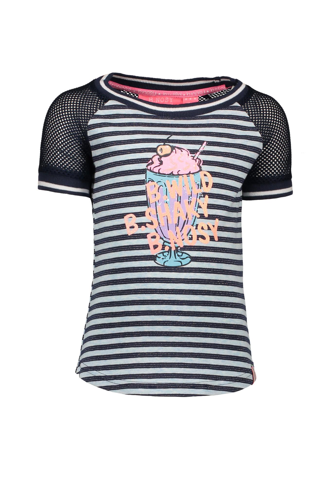 B.Nosy B.Nosy T-shirt raglan stripe skydelight melee matching lurex