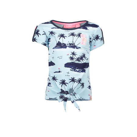 B.Nosy B.Nosy T-shirt knot with ao print aloha blue ao sky delight