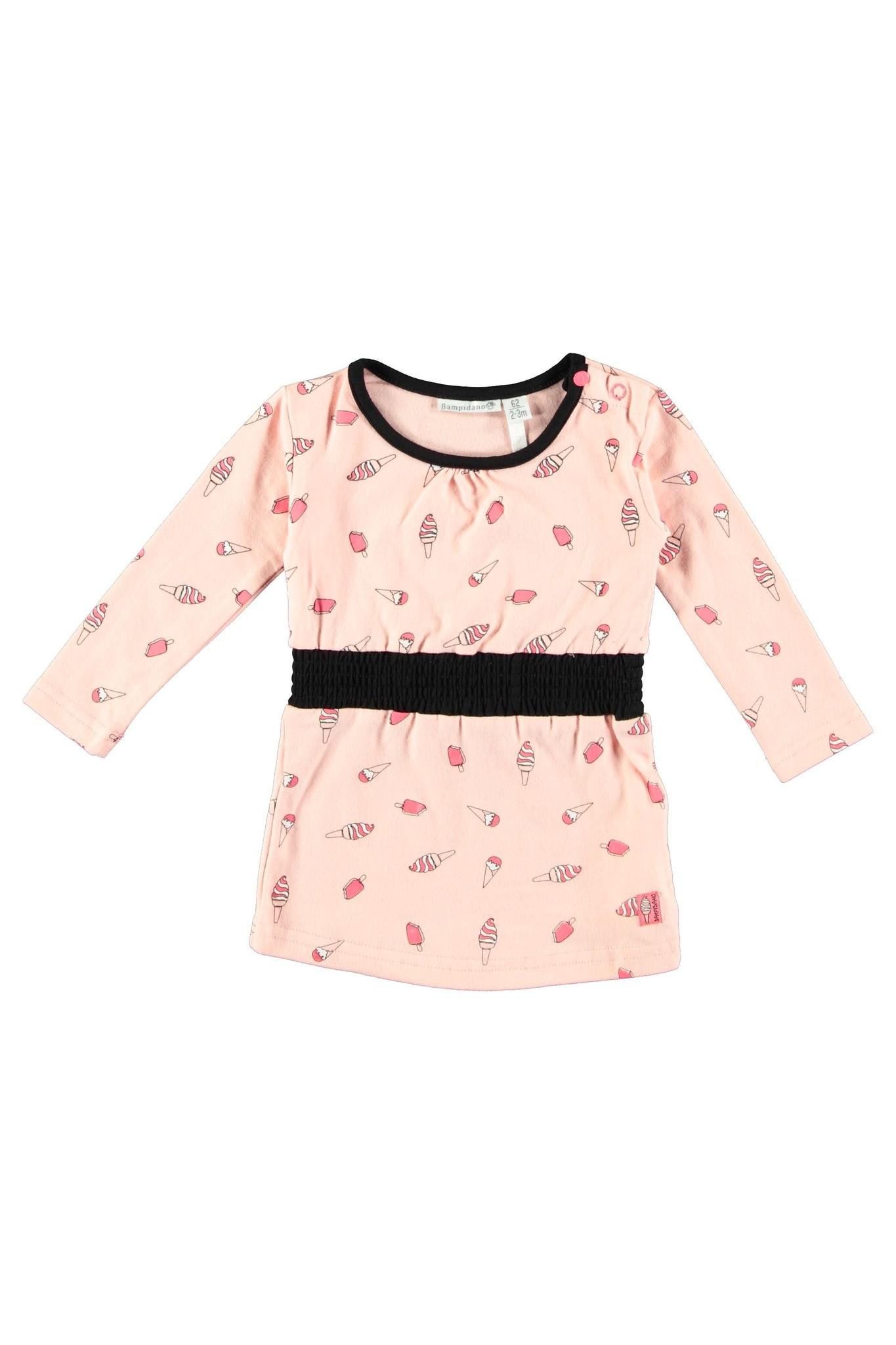 Bampidano Bampidano jurkje allover print with pleats + rib waist light pink