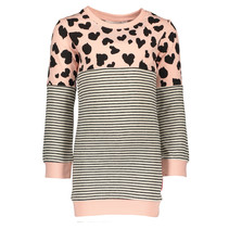 Jurk sweat tunic y/d stripe + allover print anthra stripe