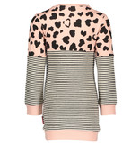 Bampidano Bampidano jurk sweat tunic y/d stripe + allover print anthra stripe