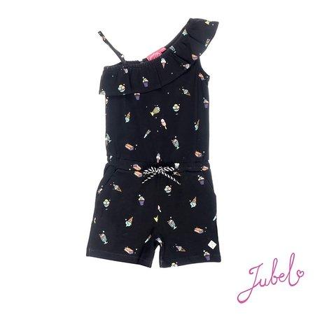 Jubel Jubel jumpsuit kort aop discodip zwart