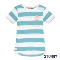 T-shirt streep pool party mint