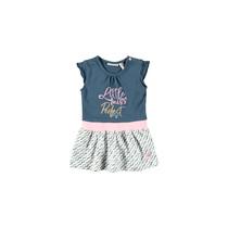 Jurkje ruffle plain top + printed wavy stripe skirt navy