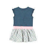 Bampidano Bampidano jurkje ruffle plain top + printed wavy stripe skirt navy