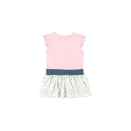 Bampidano Bampidano jurkje ruffle plain top + ao print dots skirt pink