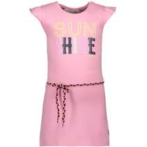 Jurk ruffle plain + waist cord pink
