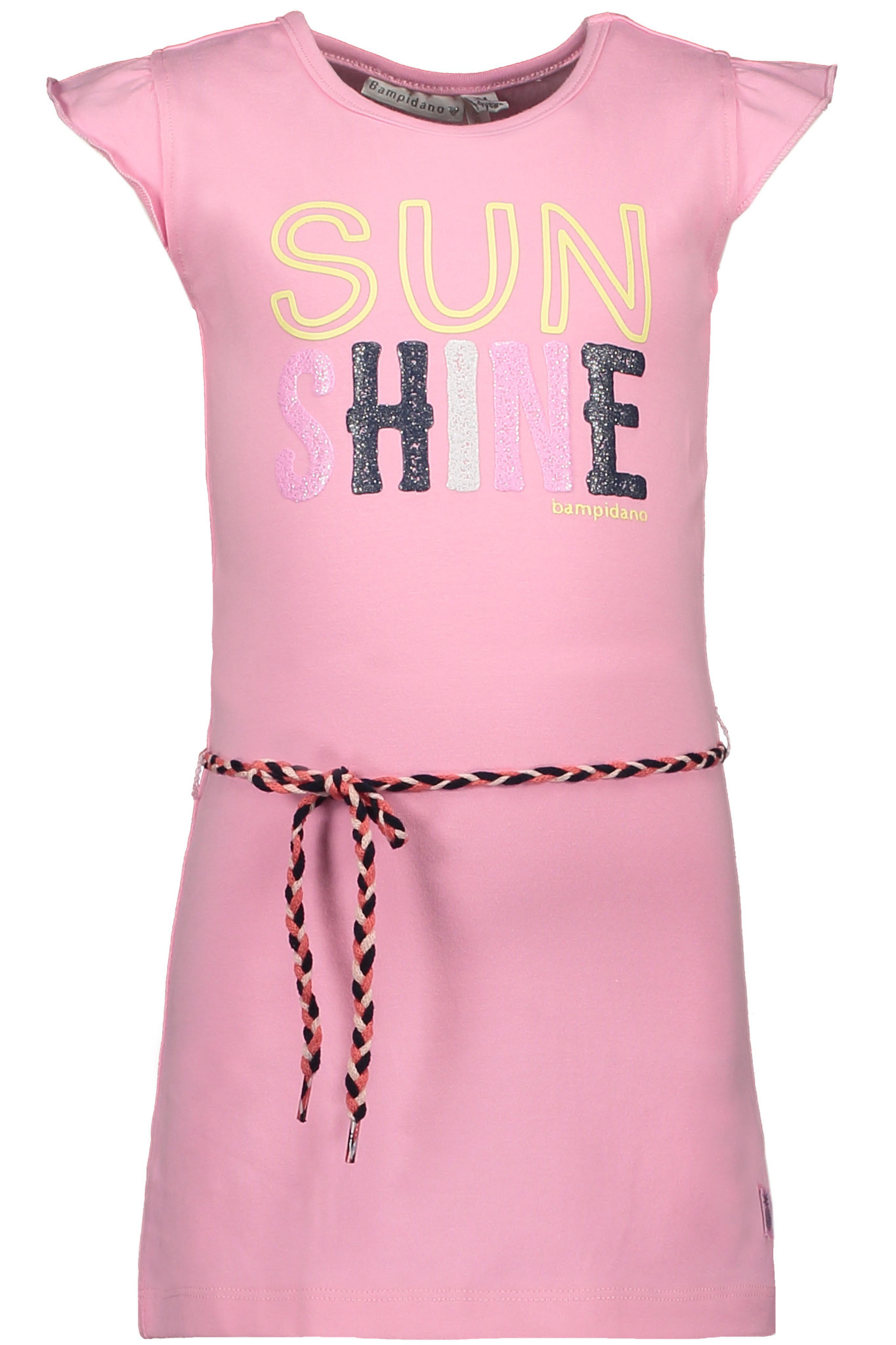 Bampidano Bampidano jurk ruffle plain + waist cord pink
