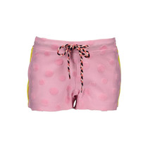 Short fancy fabric + knitted stripe tape pink