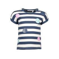 T-shirt stripe + panel dot print navy