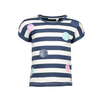 T-shirt stripe + panel dot print navy