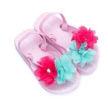 Zebra trends slippers flower met hakbandje softpink