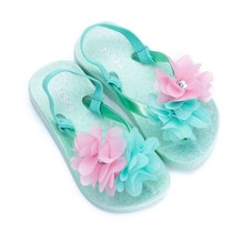 Slippers flower met hakbandje mint